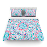 "Miranda Mol ""Prismatic White"" Blue Pink Abstract Cotton Duvet Cover"
