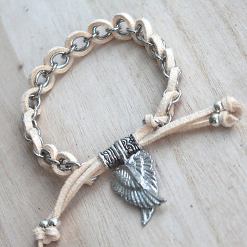Vanilla Creme Suede Cord and Chain Bracelet with Silver Guardian Angel Wings Charm with Guidance inspirational message card,