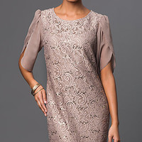 Lace Taupe Short Sleeve Dress