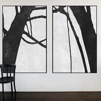 large Abstract painting original art abstract tree canvas extra Large wall art Black and White art Set of 2 pieces art canvas home decor