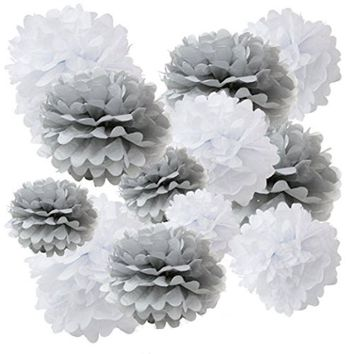Grey and White Tissue Paper Pom Poms Birthday Wedding Baby Shower Party Decorations Party Set-DIY | Birthday Party | White pom pom| Grey Pom