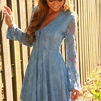 RESTOCK: Life Rolls On Dress: Dusky Blue - Dresses - Hope's Boutique