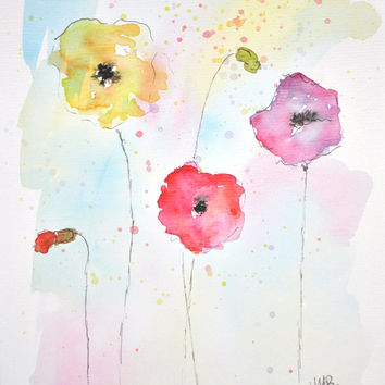 Watercolor Poppy Painting – Original Watercolor Art, Unmounted, Nursery, Wall Decor,  Home Decor, Flower Paintings - by MABartStudio