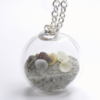 Sand Tiny Shells Hand Blown Flat Glass Clear Filled Round Silver Necklace - Summer Souvenir Collection