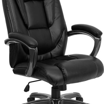 High Back Black Leather Layered Upholstered Executive Swivel Ergonomic Office Chair with Smoke Metal Base and Arms [GO-7194B-BK-GG]