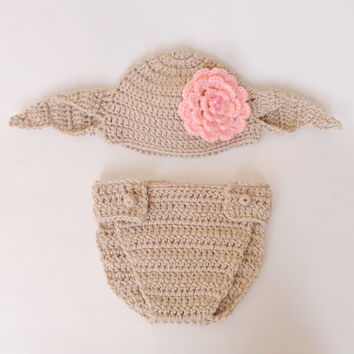 Dobby The House Elf Hat And Diaper Cover From Harry Potter For Girl- Newborn - Halloween / Cosplay / Baby Shower Gift