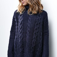 Honey Punch Chunky Knit Turtleneck Sweater - Womens Sweater - Blue