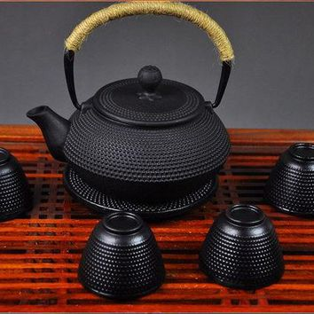 ONETOW Fedex FREE SHIPPING 900ML Kungfu Tea pot Japanese Cast Iron Teapot set with 4 cups and 1 pot mat, Iron Bottle, Kettle, Tea Set