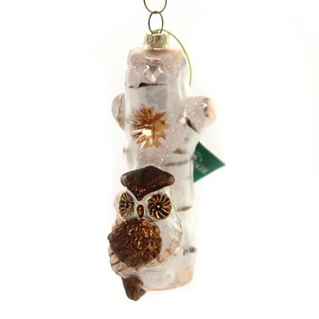 Holiday Ornaments BIRD/OWL ON TREE Glass Winter D3143 Owl