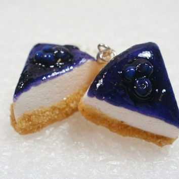 Blueberry Cheesecake earrings. Polymer clay.