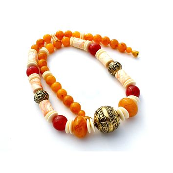 Vintage Bead Necklace Faux Amber & Bone