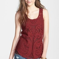 Painted Threads Embroidered Mesh Tank (Juniors) | Nordstrom