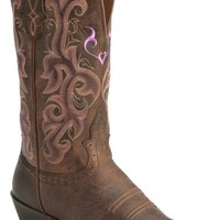 Justin Chocolate Puma Cowhide Stampede Cowgirl Boots - Snip Toe - Sheplers