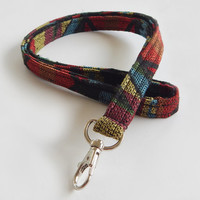 Woven Lanyard / Boho Keychain / Indian Blanket Inspired / Bohemian / Key Lanyard / Tribal Print / Woven Stripe Fabric / ID Badge Holder