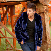 Winter hoodie jacket Imitation mink fur man outwear loose coat plus size