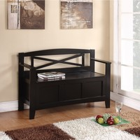 Bench with Flip Up Storage Compartment & Cross-Stoke Camel Back Design | Overstock.com Shopping - The Best Deals on Benches