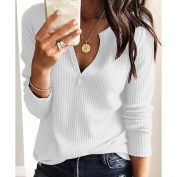 white shirt fashion clothes t shirt women Casual Solid V-neck long sleeve women Tops Bluses streetwear