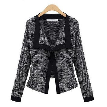 Women knitting blazer women long sleeve knitted Cardigan ladies elegant long sleeve jackets and coats Blazer