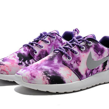 low priced ca265 80a93 WOMENS SIZE Custom Roshe Run running shoes! Purple Clouds Floral