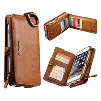 2 In 1 Combo Multi function Wallet Floveme Original Brand Genuine Leather Fold Bag Case With Lots Of Card Slots For Iphone 6 6s/6 Plus/6s Plus