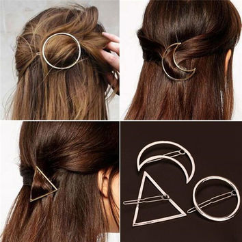New Brand Fashion Hairpin Star Moon Triangle Hair Clip Fine Jewelry Hairgrip Hair Clip For Headwear Women Hair Accessories