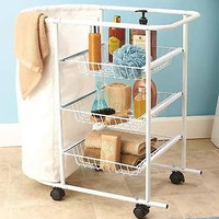 All-Purpose Bath Cart Organizer White Storage Hamper Soaps Towels Wheels