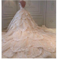 Vestido de novia Elegant Sweetheart Sleeveless Beaded Appliqued Ball Gown Long Train 2015 Wedding Dresses Sexy Backless