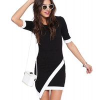 Contrast Color Short Sleeve Asymmetric Wrap Bodycon Mini Dress