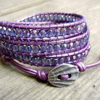 Beaded Leather Wrap Bracelet 4 Wrap with Purple Lavender Luster Czech Glass Beads on Metallic Purple Leather