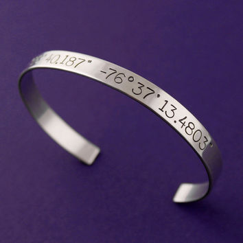 Personalized Latitude and Longitude Cuff Bracelet in aluminum, copper, brass, or sterling silver - Personalized Bracelet
