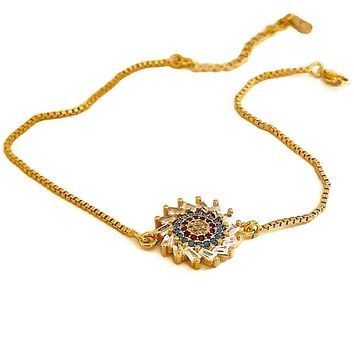 Colorful Flower  Cz 18kts of Gold Plated Bolo Bracelet