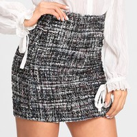 Space Dye Tweed Skirt