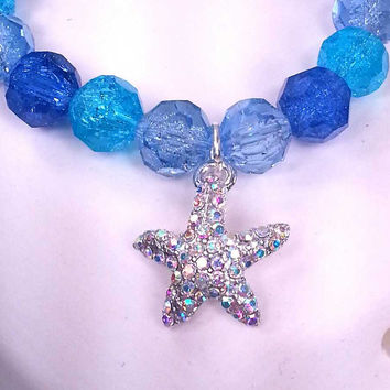 Starfish Charm Bracelet, Gift for her, periwinkle, purple, and aqua glass crackle bead bracelet