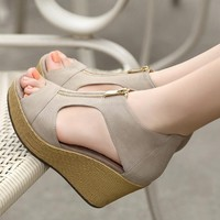New female sandals women wedges platform shoes summer vintage heeled Peep Toe sandal High heels Fish head shoe zipper