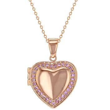 Rose Gold Plated Pink CZ Heart Shaped Locket Necklace Pendant for Girls 18""