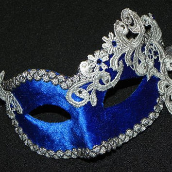 Masquerade Mask in Blue and Silver with Velvet and Lace Accents