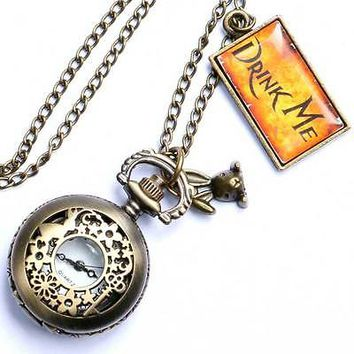 Hot Alice In Wonderland Drink Me Pocket Watch Necklace Rabbit Flower Key Gift