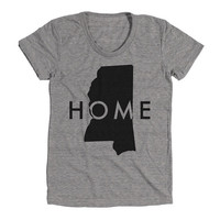 Mississippi Home Womens Athletic Grey T Shirt - Graphic Tee - Clothing - Gift