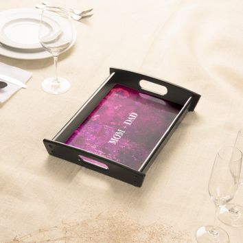Mom + Dad 40th Anniversary Abstract Magenta black Serving Tray