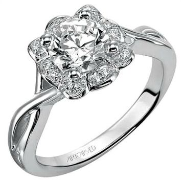 """Artcarved """"Monica"""" Halo Diamond Twisted Engagement Ring"""