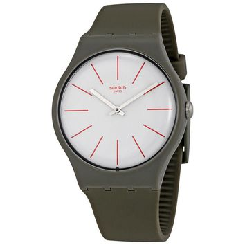 Swatch Greensounds White Dial Mens Grey Brown Watch SUOC107