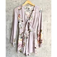 a love like this romper - floral ice grey
