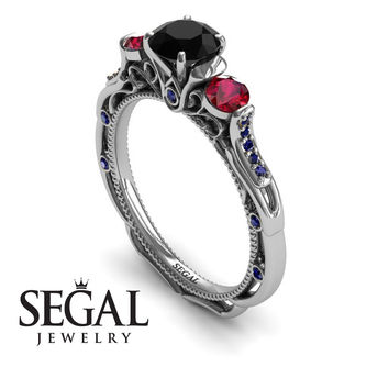 Unique Engagement Ring 14K White Gold Art Deco Victorian Ring Edwardian Ring Black Diamond With Ruby - Elizabeth
