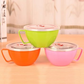 1 Pcs Japan Style Noodles Bowl With Handle Lid Enclosed Large Stainless Steel Cutlery Rice Soup Cup 16*8.4cm Cooking Tools 900ML
