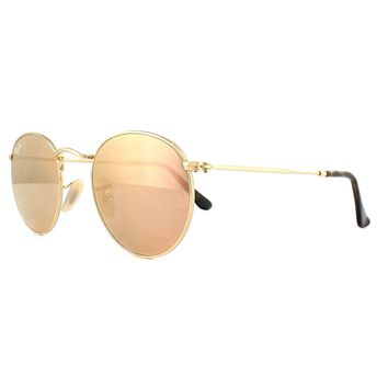 Ray-Ban Sunglasses Round Flat Lenses 3447N 001/Z2 Gold Copper Mirror
