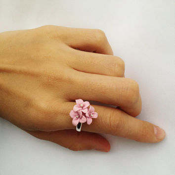 pink  polymer clay ring, pastel color, choose color, ring with three flowers, best gift for her, adjustable ring