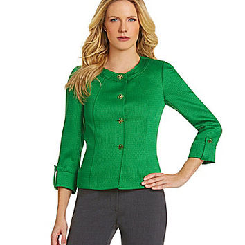 Tahari by ASL Button-Front Jacket - Pine Green