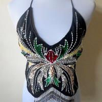 black beaded belly dance backless top