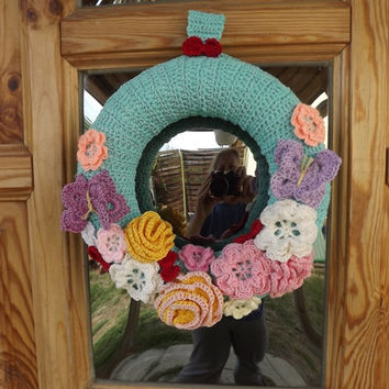 Spring Wreath # Home & Decor #Flower #Butterfly #Sunshine #Spring #Crocheted #Handmade
