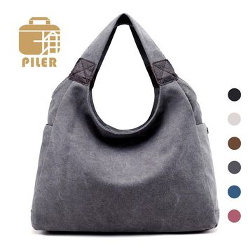 Piler Solid Tote Bags Women Canvas Zipper Hand Bag Ladies Handbags Brands Casual Large Shoulder Bag Women Shopper Handbags Tote